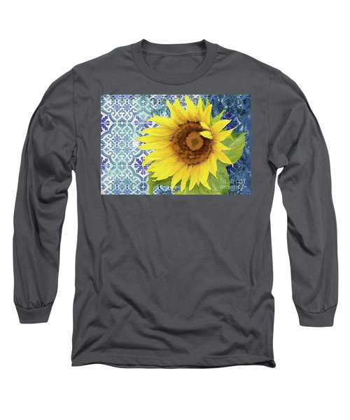 Long Sleeve T-Shirt featuring the painting Old Havana Sunflower - Cobalt Blue Tile Painted Over Wood by Audrey Jeanne Roberts