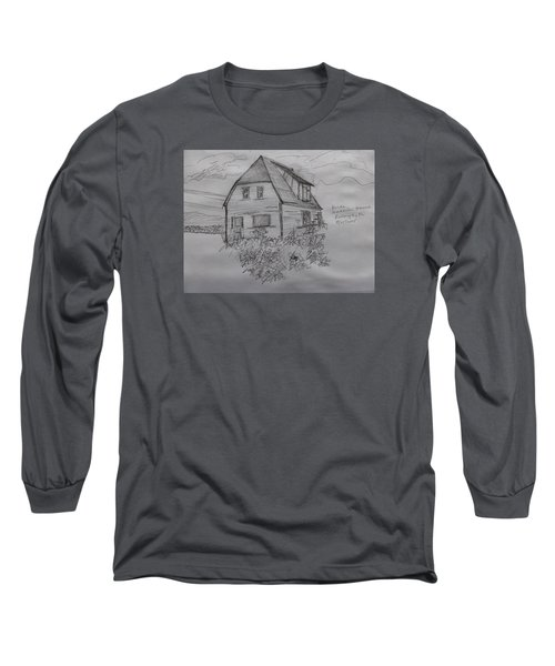 Long Sleeve T-Shirt featuring the drawing Old House In Raleigh by Joel Deutsch