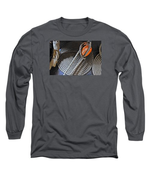 Old Ironsides Rope Long Sleeve T-Shirt by Mike Martin