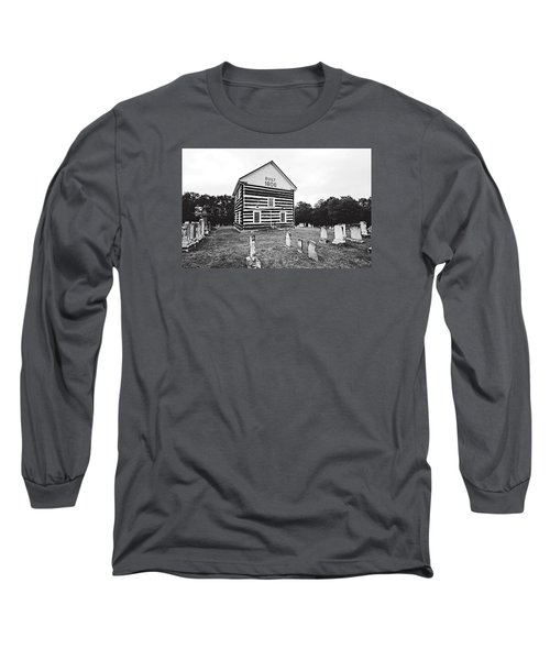 Long Sleeve T-Shirt featuring the photograph Old Log Church by Trina  Ansel
