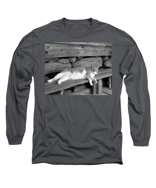Long Sleeve T-Shirt featuring the photograph Old Mill Cat by Sandi OReilly
