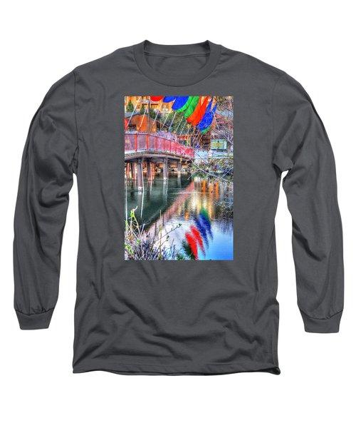 Old Mill Foot Bridge 481 Long Sleeve T-Shirt by Jerry Sodorff