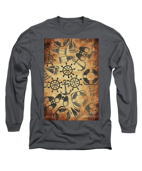 Old Nautical Parchment Long Sleeve T-Shirt