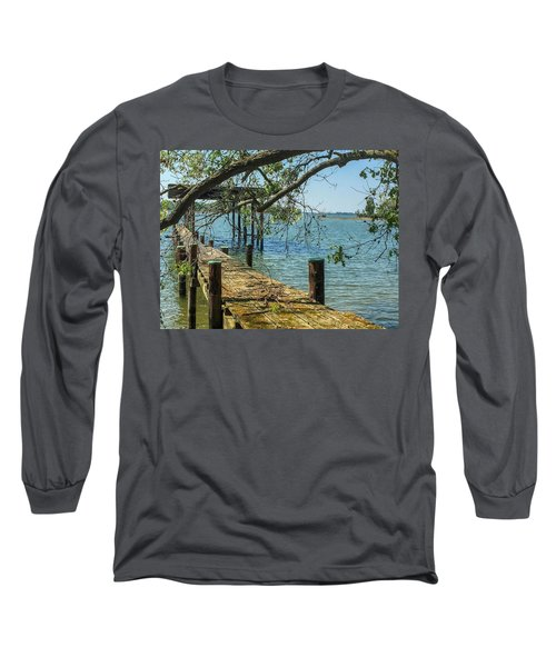 Long Sleeve T-Shirt featuring the photograph Old Pier On The Tred Avon by Charles Kraus