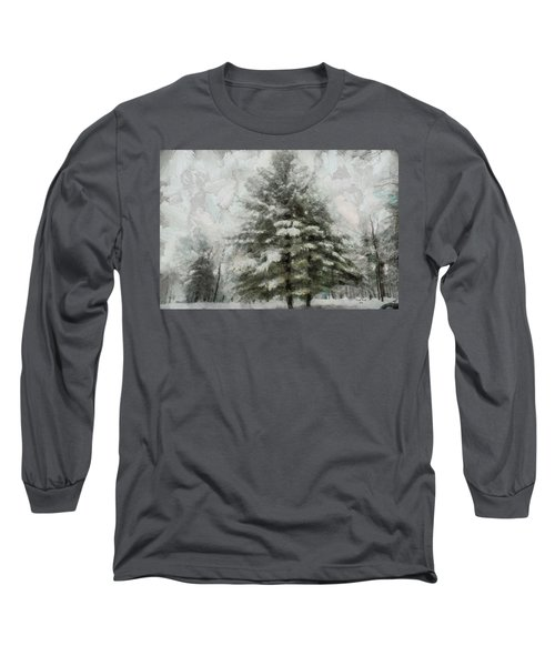 Long Sleeve T-Shirt featuring the mixed media Old Piney by Trish Tritz