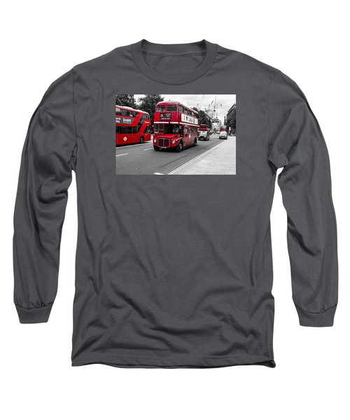 Old Red Bus Bw Long Sleeve T-Shirt