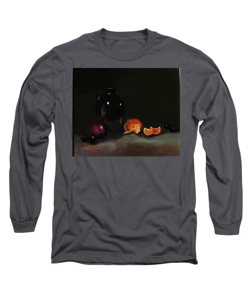 Old Sake Jug And Fruit Long Sleeve T-Shirt by Barry Williamson