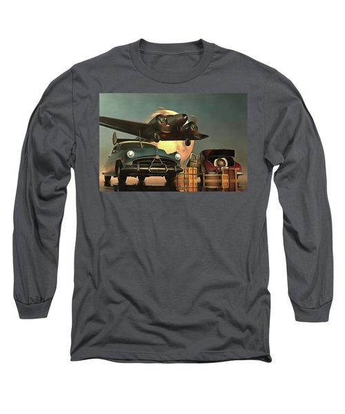 Old-timers With Airplane Long Sleeve T-Shirt