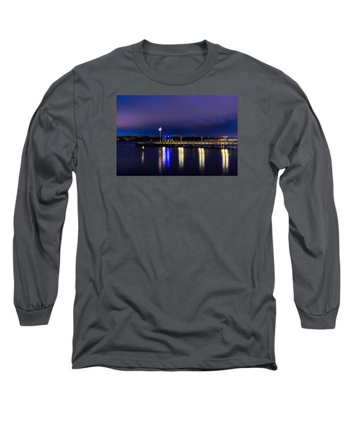 Long Sleeve T-Shirt featuring the photograph Old Town Pier During The Blue Hour by Rob Green