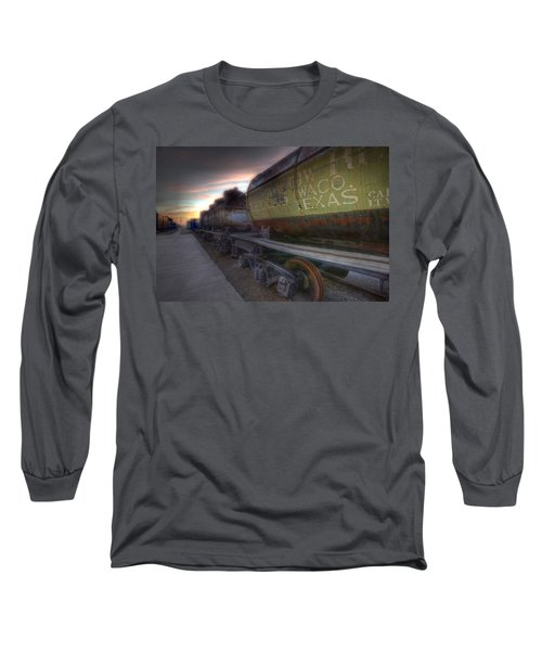 Long Sleeve T-Shirt featuring the tapestry - textile Old Train - Galveston, Tx 2 by Kathy Adams Clark