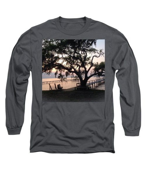 Old Tree At The Dock Long Sleeve T-Shirt by Christin Brodie