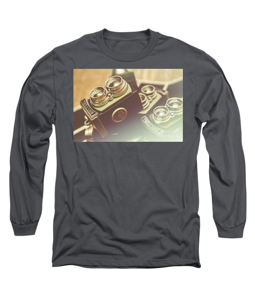 Old Vintage Faded Print Of Camera Equipment Long Sleeve T-Shirt