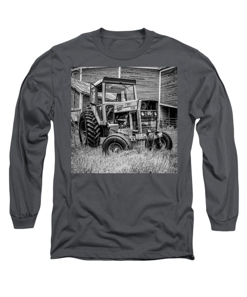 Old Vintage Tractor On A Farm In New Hampshire Square Long Sleeve T-Shirt