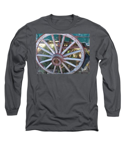 Long Sleeve T-Shirt featuring the photograph Old Wagon Wheel by Dora Sofia Caputo Photographic Art and Design