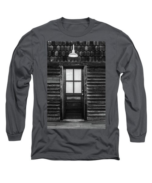 Old Wood Door And Light Black And White Long Sleeve T-Shirt by Terry DeLuco
