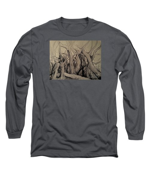 Long Sleeve T-Shirt featuring the painting Old Woods by Maja Sokolowska