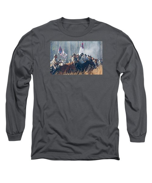 Olustee Confederate Charge Long Sleeve T-Shirt by Kenneth Albin