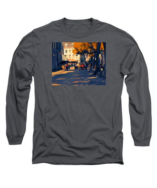 Long Sleeve T-Shirt featuring the painting Olv Plein Maastricht In Autumn by Nop Briex