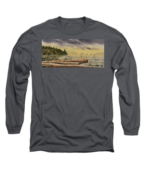 Long Sleeve T-Shirt featuring the painting Olympic Seashore Sunset by James Williamson