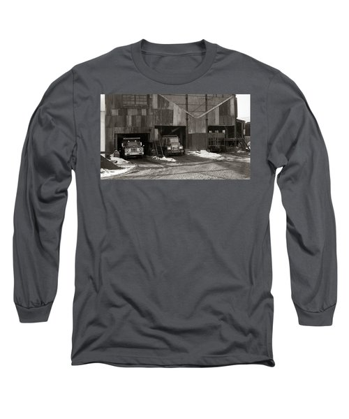 Olyphant Pa Coal Breaker Loading Trucks And Gondola Car Winter 1971 Long Sleeve T-Shirt