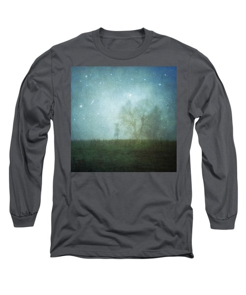 On A Starry Night, A Boy And His Tree Long Sleeve T-Shirt