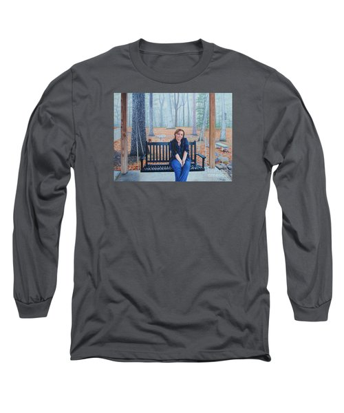 Long Sleeve T-Shirt featuring the painting On The Porch Swing by Mike Ivey