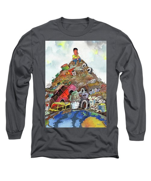 Long Sleeve T-Shirt featuring the painting On Top Of Things by Anthony Mwangi