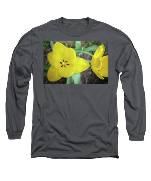 One And A Half Yellow Tulips Long Sleeve T-Shirt by Michelle Calkins