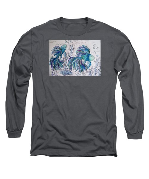 One Fish, Two Fish, Lilac Green And Blue Fish Long Sleeve T-Shirt by Megan Walsh