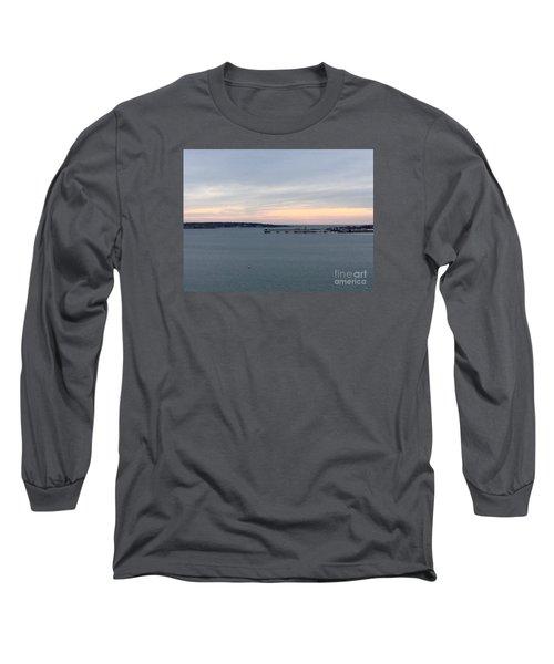 Opalescent January Sunrise On Casco Bay Long Sleeve T-Shirt