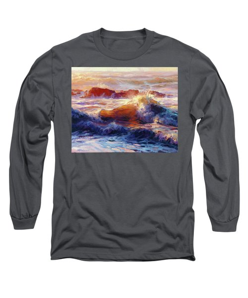 Long Sleeve T-Shirt featuring the painting Opalescent Sea by Steve Henderson