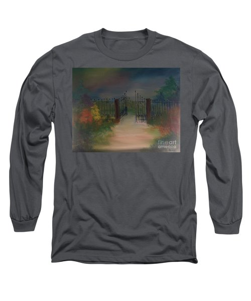 Long Sleeve T-Shirt featuring the painting Open Gate by Denise Tomasura