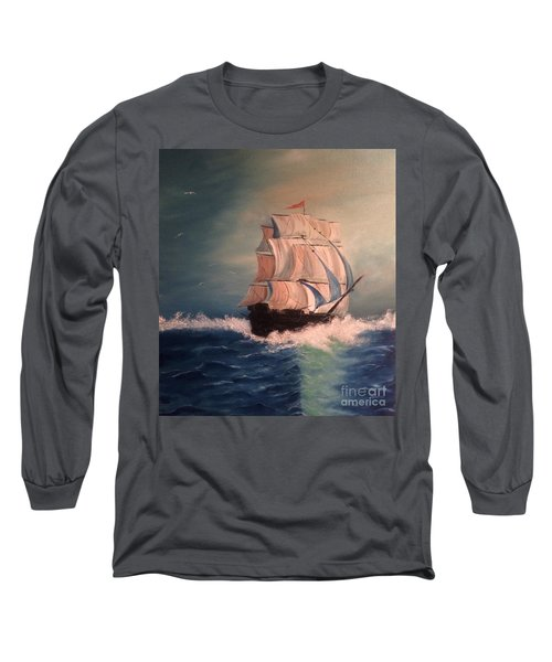 Long Sleeve T-Shirt featuring the painting Open Seas by Denise Tomasura