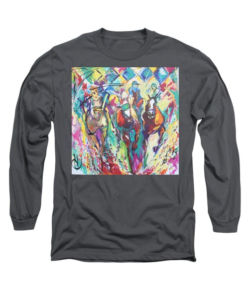 Opening Day In Del Mar Long Sleeve T-Shirt by Heather Roddy