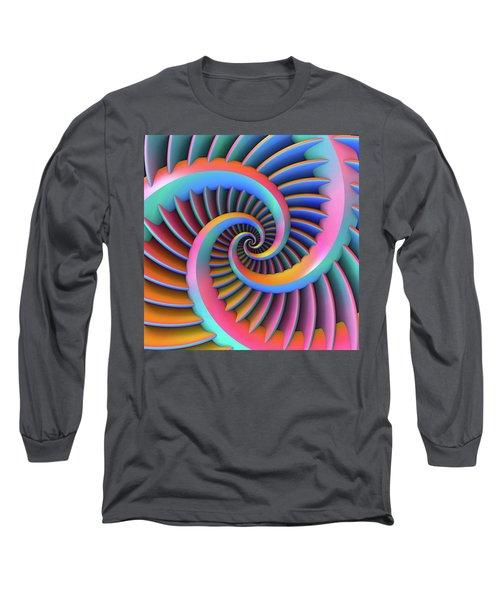 Long Sleeve T-Shirt featuring the digital art Opposing Spirals by Lyle Hatch