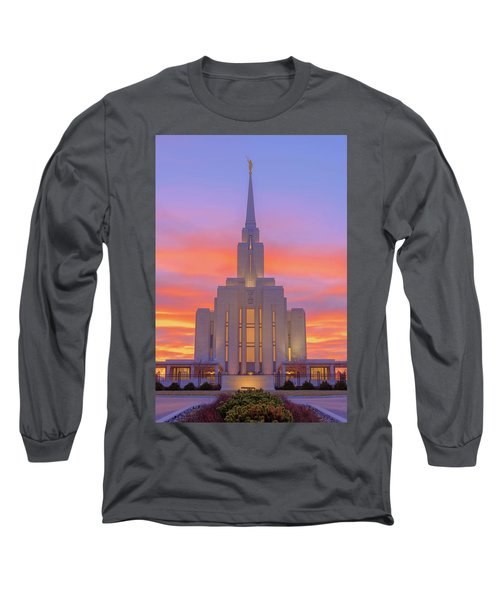 Long Sleeve T-Shirt featuring the photograph Oquirrh Mountain Temple IIi by Chad Dutson