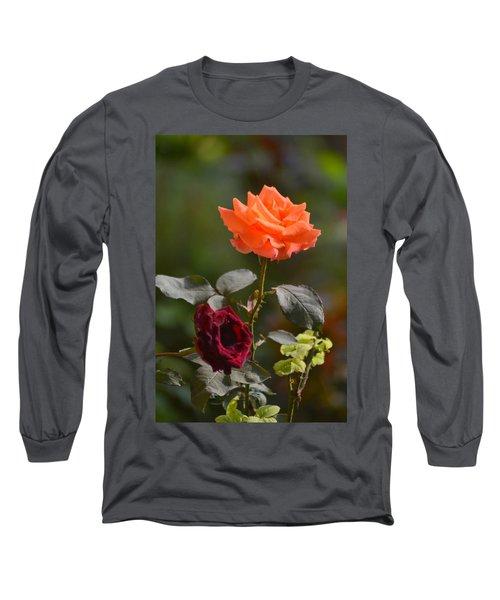 Orange And Black Rose Long Sleeve T-Shirt