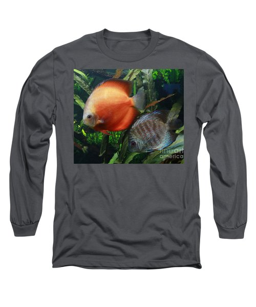 Orange And Blue Speckled Discus Long Sleeve T-Shirt
