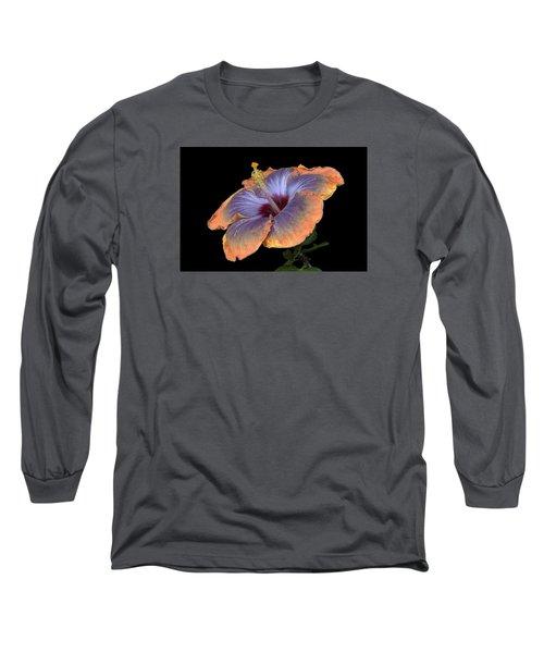 Orange-blue Hibiscus Long Sleeve T-Shirt