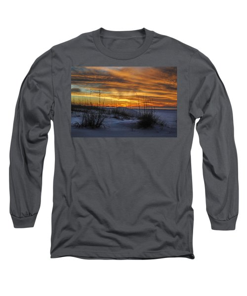 Orange Clouded Sunrise Over The Pier Long Sleeve T-Shirt
