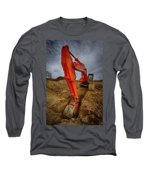 Orange Excavator Long Sleeve T-Shirt