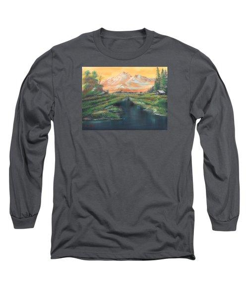 Orange Mountain Long Sleeve T-Shirt by Remegio Onia