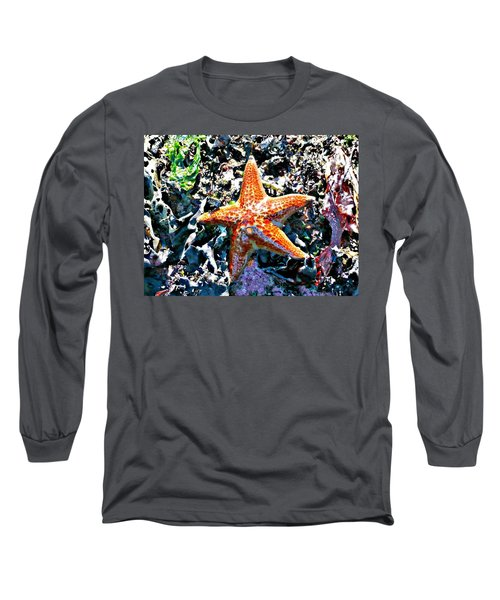 Long Sleeve T-Shirt featuring the photograph Orange Starfish by 'REA' Gallery