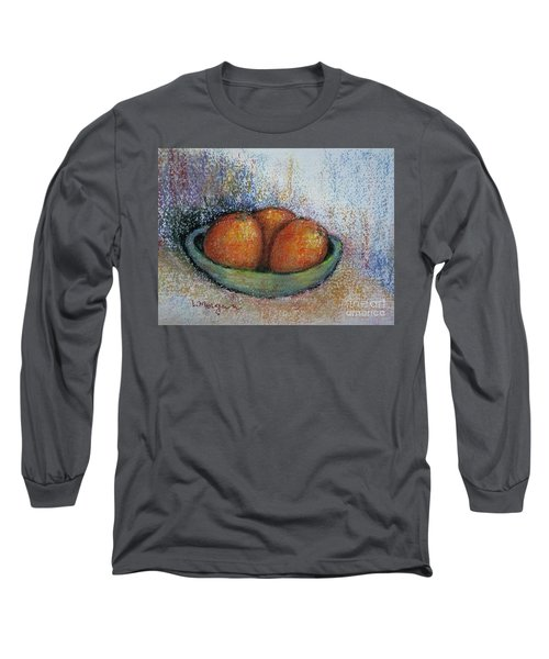Oranges In Celadon Bowl Long Sleeve T-Shirt