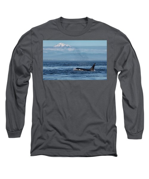 Orca Male With Mt Baker Long Sleeve T-Shirt