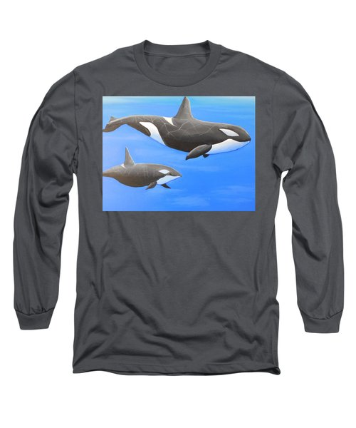 Orca With Baby Long Sleeve T-Shirt