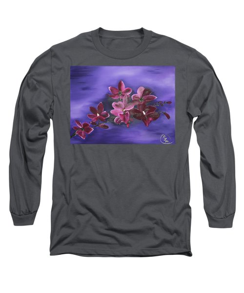 Orchid Blossoms On A Stem Long Sleeve T-Shirt