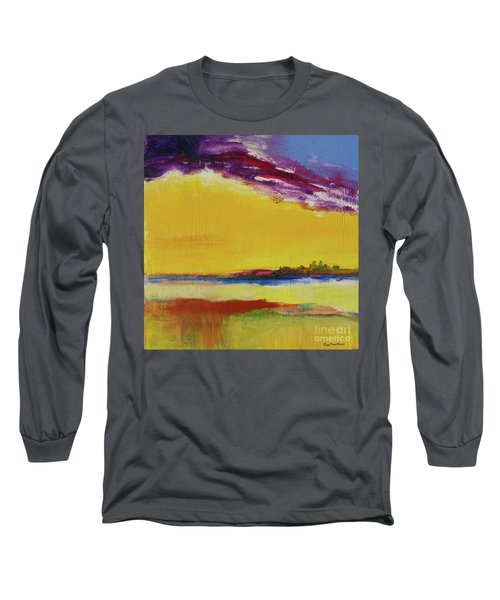 Long Sleeve T-Shirt featuring the painting Orchid Sky by Robin Maria Pedrero