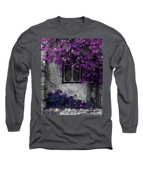 Orchid Vines Window And Gray Stone Long Sleeve T-Shirt by Brooke T Ryan