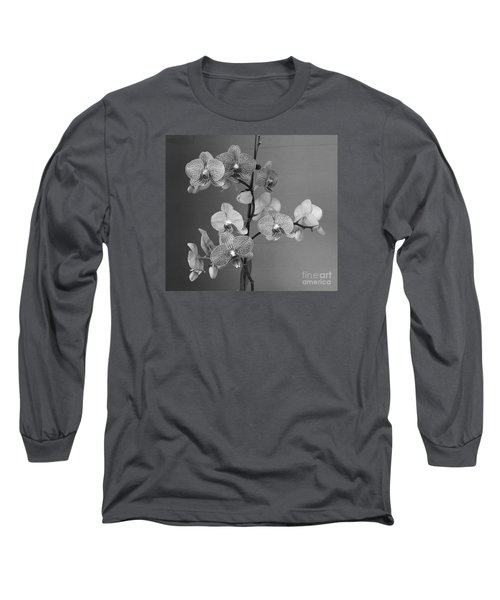 Orchids Black And White Long Sleeve T-Shirt